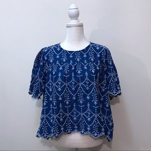 Zara Woman Blue White Embroidered Crop Blouse XL
